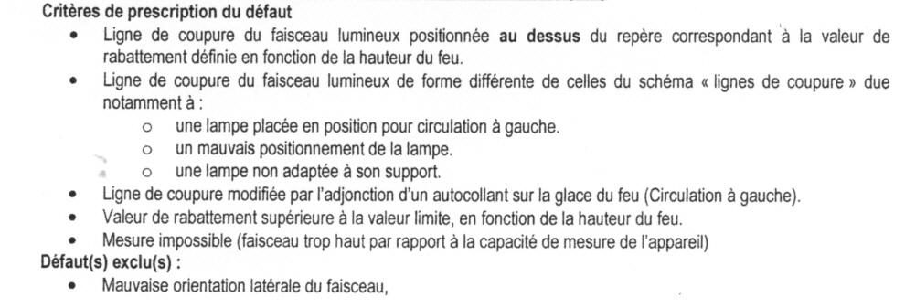 conditions de passage contr le technique des phares nouvelle m thode depuis 01. Black Bedroom Furniture Sets. Home Design Ideas